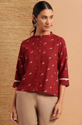 Maroon printed cotton cotton-tops