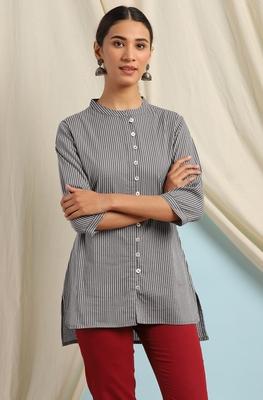 Grey printed cotton cotton-tops