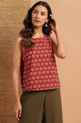 Red printed cotton cotton-tops