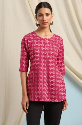Pink printed cotton cotton-tops