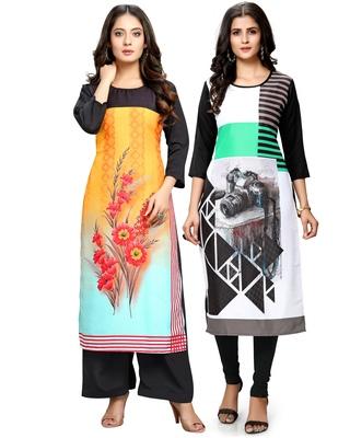 Multicolor printed crepe ethnic-kurtis