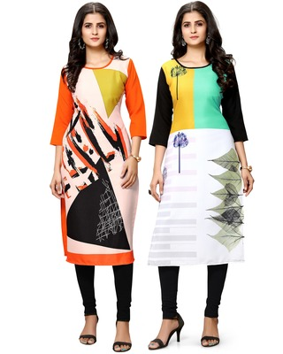 Multicolor printed crepe ethnic-kurtis