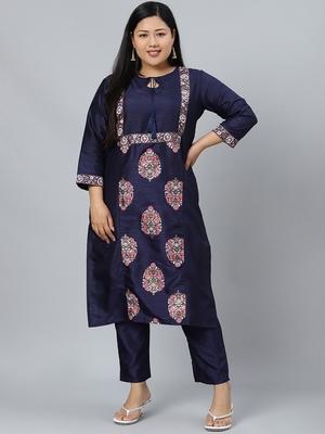 Navy-blue printed art silk kurtas-and-kurtis