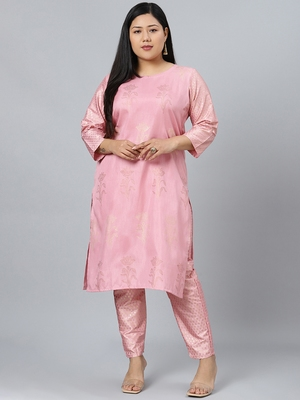 Pink printed art silk kurtas-and-kurtis