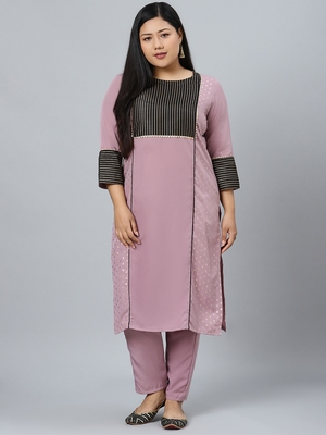 Purple printed crepe kurtas-and-kurtis