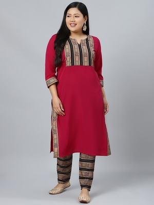 Pink printed crepe kurtas-and-kurtis