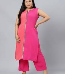 Pink plain crepe kurtas-and-kurtis