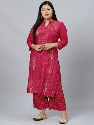 Maroon printed crepe kurtas-and-kurtis