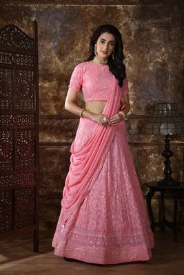 Light-pink embroidered georgette semi stitched lehenga