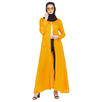Yellow plain rayon abaya