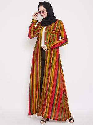 Multicolor plain rayon abaya