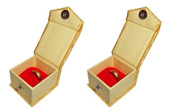 Atorakushon® Satin Golden Ring Box Jewellery Box Chain Box Wediing Organiser  Vanity Box Travelling Box 2 PCS {GOLD}