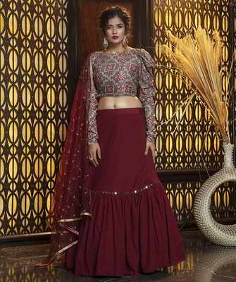 Maroon embroidered georgette semi stitched lehenga