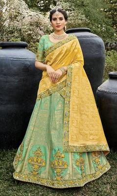 Sea-green embroidered silk semi stitched lehenga