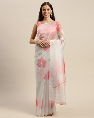 White printed organza saree with blouse