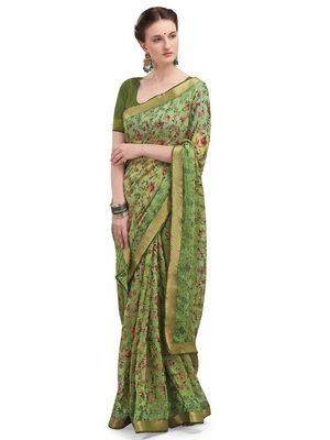 Green brasso brasso saree with blouse