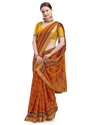 Orange brasso brasso saree with blouse