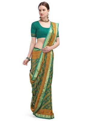 Cyan brasso brasso saree with blouse