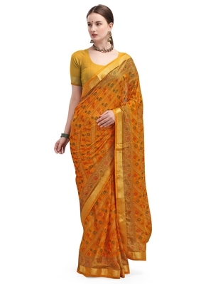 Yellow brasso brasso saree with blouse