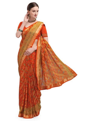 Orange brasso brasso saree with blouse