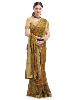 Cream brasso brasso saree with blouse