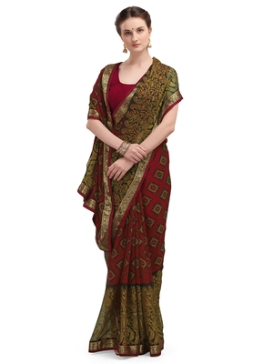 Maroon brasso brasso saree with blouse