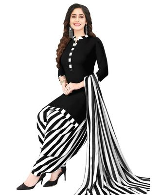 BLACK SYNTHETIC PRINTED SOFT DRESS MATERIAL UNSTITCHED