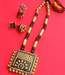 Handmade Gold/Black terracotta-necklace set