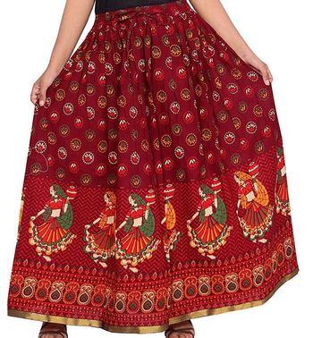 Ro Sky Fashion Jaipuri Printed Gujari Skirt Dark Red Colour Cotton Fabric