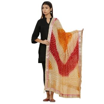 Multicolor Art Silk Bandhej Dupatta