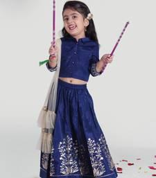 blue art silk  Gather Skirt with Choli and Dupatta