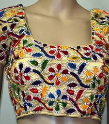 Regular Sleeves Kutch hand Embroidered Multicolour Designer Paded Stitched Blouse