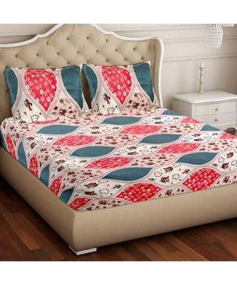 RIDAN COTTON BLEND PRINTED MULTICOLOUR  DOUBLE BED SHEET WITH PILLOW COVER