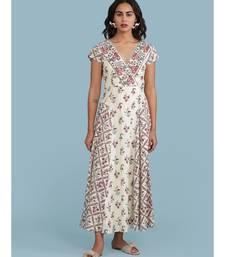 Off White Floral Print Maxi Dress