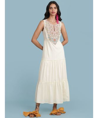 Off White Embroidered Long Dress