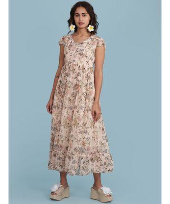 Baby Pink Floral Print Short Sleeve Maxi Dress