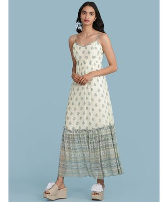 Ecru Printed Strappy Maxi Dress