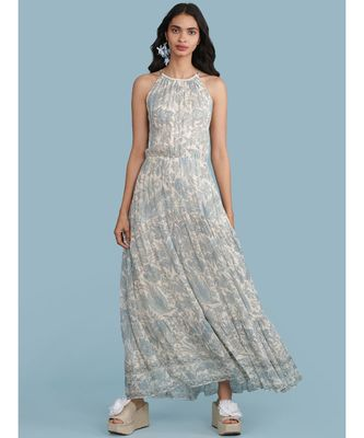 Ice Blue Printed Halter Maxi Dress