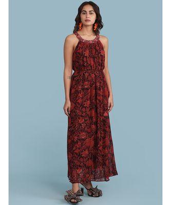 Burgundy Printed Halter Maxi Dress