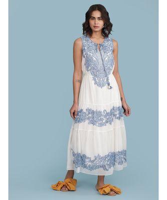 White Embroidered Round Neck Sleeveless Maxi Dress