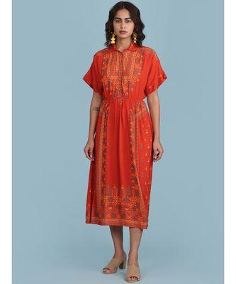 Orange Printed Shirt Collar Long Dress