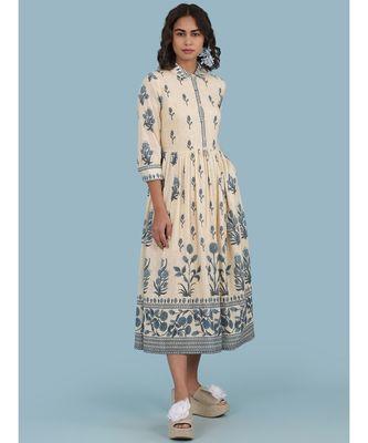Ecru Floral Print 3/4 Sleeve Long Shirt Dress