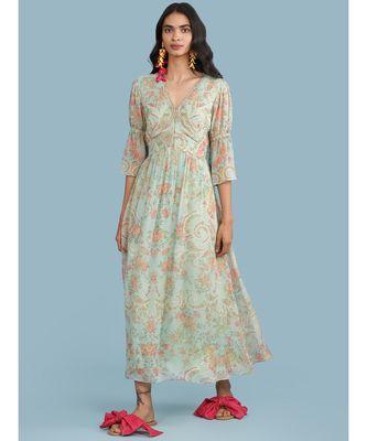 Powder Green Floral Print 3/4 Sleeve Maxi Dress