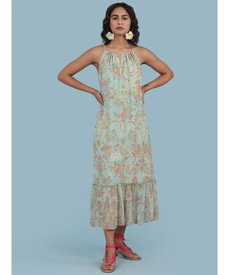Powder Green Floral Print Halter Midi Dress
