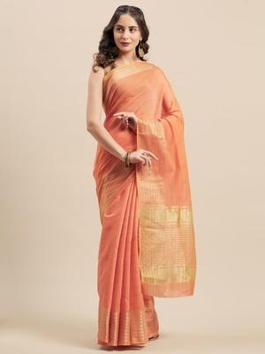 Shaily Women's Peach Cotton Silk Woven Design Saree