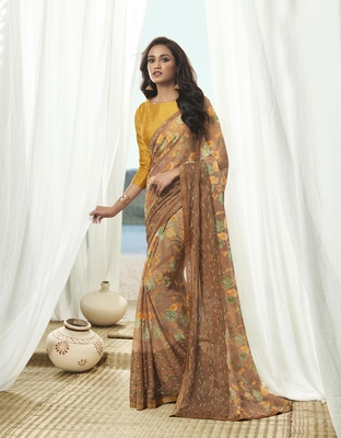 Shaily Women's Beige Georgette Embroidery Saree