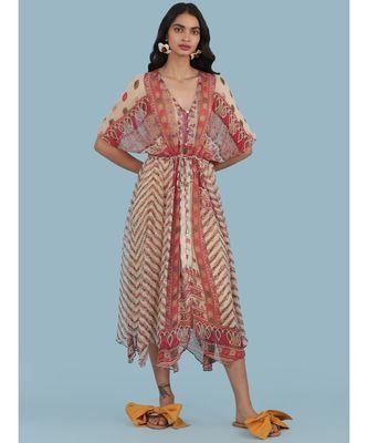 Ecru Printed Half Sleeve Kaftan Dress