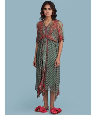 Green Printed Half Sleeve Long Kaftan Dress