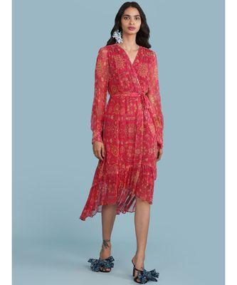 Pink Floral Print Ruffle Midi Dress With Belt