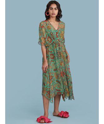 Green Floral Print Long Dress